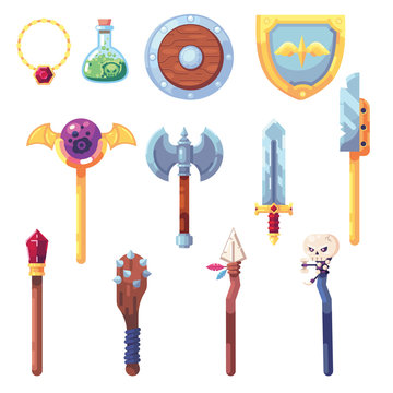 Weapon RPG game set equipment loot booty bow sword wand staff poison things artifact inventory vector