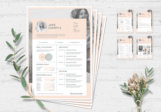 Resume and Cover Letter Layout with Pale Pink Accents