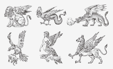 Set of Mythological animals. Chinese dragon Harpy Sphinx Griffin Mythical Basilisk Roc Woman Bird. Greek creatures. Engraved hand drawn antique old vintage sketch.