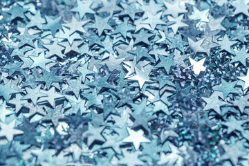 Blue and cyan star shaped monochrome confetti