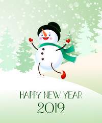 Happy New Year with and snowman banner design. Creative calligraphy with cartoon character of snowman and numbers. Snowy trees on background. Can be used for posters, banners, greetings