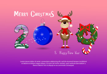 Two thousand and nineteen pink and purple gradient banner design. Creative numbers in form of Christmas tree decoration, deer and Christmas wreath. Can be used for postcard, leaflets, greetings