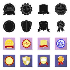 Vector design of emblem and badge sign. Set of emblem and sticker stock symbol for web.