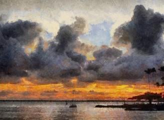 Hand drawing watercolor art on canvas. Artistic big print. Original modern painting. Acrylic dry brush background. Beautiful sea beach travel landscape. Wonderful sunset view. Resort exotic paradise.