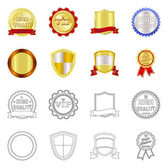 Vector illustration of emblem and badge icon. Set of emblem and sticker stock vector illustration.