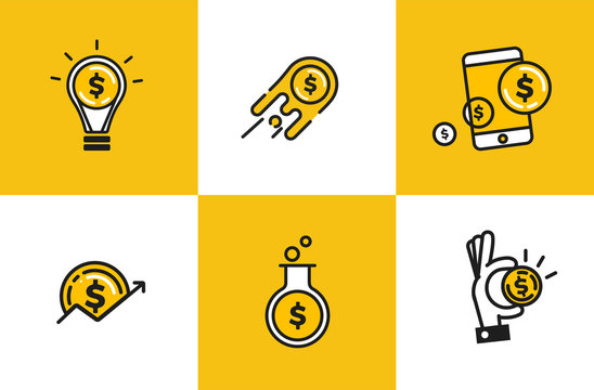 Outline web icon set - money, finance, payments. Logo object with dollar coin