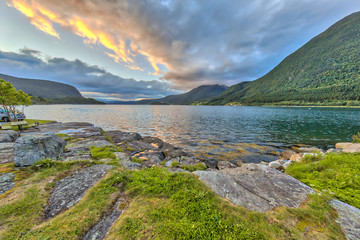 Wall Mural - Sunset over Romsdalsfjord