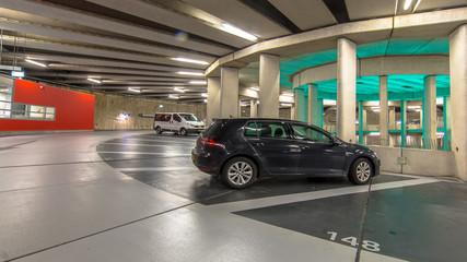 Cars in Circular Underground parking garage