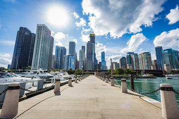 Chicago city view from a pier in front of Michigan lake.