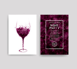 Illustration of glass with red wine stains. Background spots of wine drops. Templates for wine lists, flyer, promotions, invitations.
