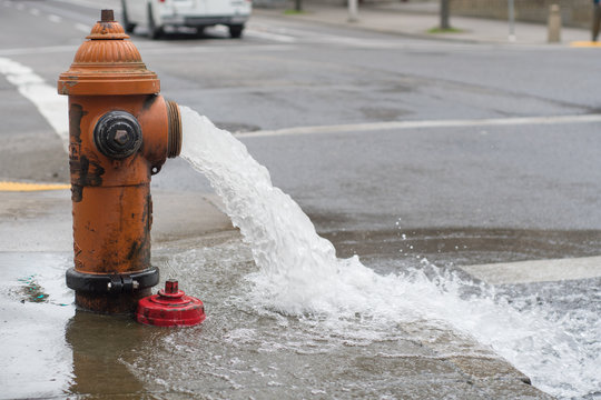 Open Fire Hydrant pouring water