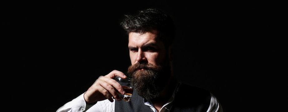 Portrait of a handsome bearded in elegant tuxedo, drink cognac. Attractive man with a whiskey. Bearded male. Stylish handsome male in suit drink from glass brandy, cognac.