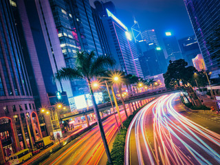 Street traffic in Hong Kong at night Fotomurales