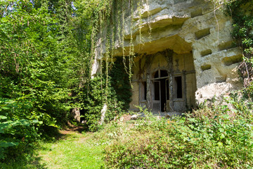Entrance to the old quarry. France.