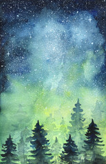 Space art. Nortern lights. Watercolor