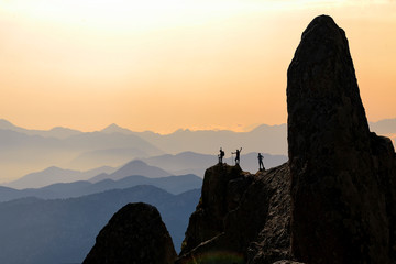 spectacular and fascinating mountains,cliffs and mountaineers ' success