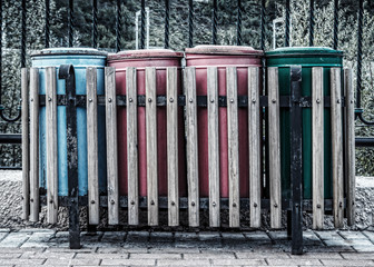 Four trash cans of different colors Krasnaya Polyana Sochi