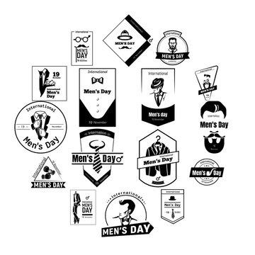 November mens day logo set. Simple set of november mens day vector logo for web design on white background
