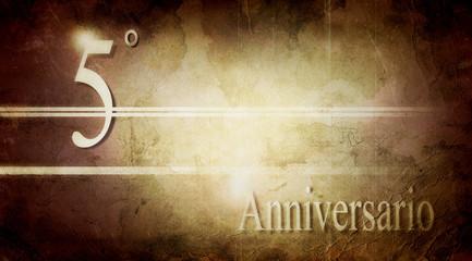 quinto anniversario, biglietto auguri.