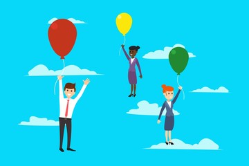 Flying workers with balloons in vector