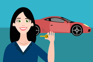 Woman with key from new car