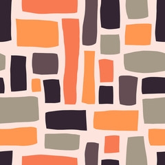 Rectangle shapes hand drawn abstract seamless vector pattern. Purple, orange, gray blocks on light pink background. Fall autumn color background. For fabric, web banner, page fills, paper, wallpaper