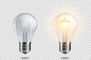 Wall Mural - Transparent realistic light bulb with word idea, isolated.