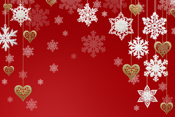 Christmas and New Year decorations: snowflakes and golden hearts on red background.