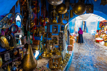 Gift shop in blue medina of the Chefchaouen, Marocco in Africa Wall mural
