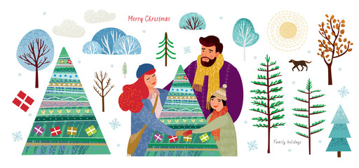 happy family celebrate Christmas and New Year and dance around the Christmas tree, set to create a winter illustration or card with elements: trees, snowflake, bush, dog, sun, gift