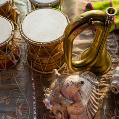 Close-up of musical instruments used during Indian ceremonies