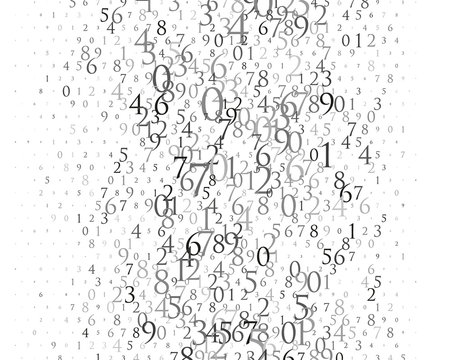 Random numbers 0 and 9. Background in a matrix style. Binary code pattern with digits on screen, falling character.
