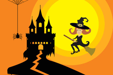 Halloween vector with flying witch to castle