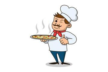 Italian chef icon on white