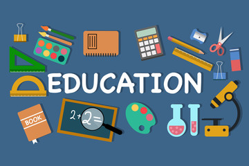 Vector set of school objects for Education