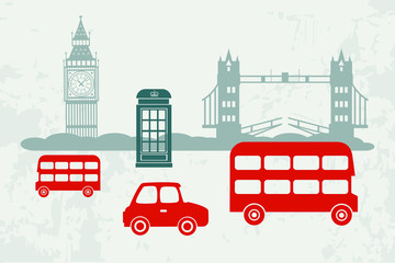 Vector cars and buses in London