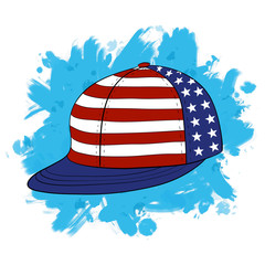 Vector illustration Youth Snapback in American Flag Colors