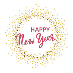 Golden splash or glittering spangles round frame. Happy New Year 2019 - gold disc lights frame. Golden glittering  circle  made of dots on white background. Vector illustration.