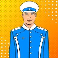 Pop art flyer man in blue uniform. Imitation comic style. Raster aircraft pilot or aviator