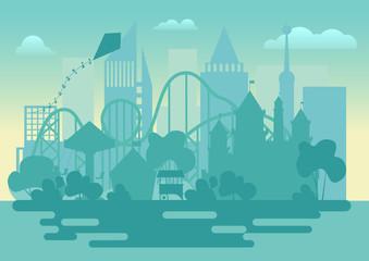 Modern Amusement park silhouette landscape vector illustration.