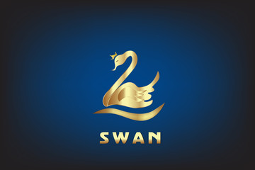 Swan with crown vector logo