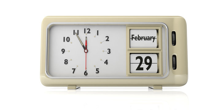 Leap Day 29 February on old retro alarm clock, white background, isolated, 3d illustration.