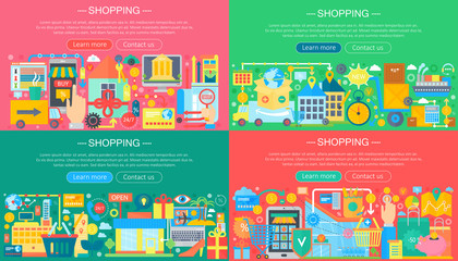 Online Shopping and E-Commerce concepts collection. Online e commerce infographics template design, web header shopping icons elements vector illustration.
