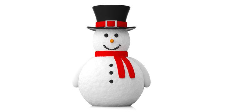 Smiling snowman against white background. 3d illustration.