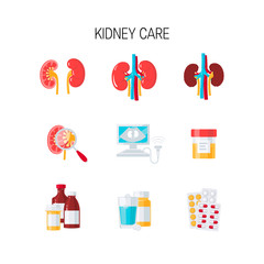 Kidney care vector set