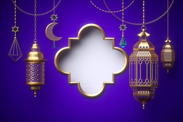3d render, blank frame, ornaments hanging on golden chains, lantern, tribal decoration, festive greeting card template, arabesque design, empty banner, isolated on violet background