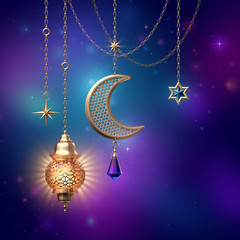3d render, lantern stars ornate crescent, hanging on golden chains, glowing light, arabic traditional decor, tribal festive decoration, Ramadan Kareem, greeting card, starry night background