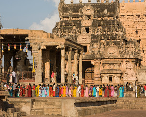 Worshippers at Brihadishwara Temple