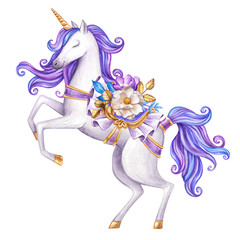 watercolor white unicorn illustration, fairy tale creature, violet curly hair, mythical animal clip art, isolated on white background