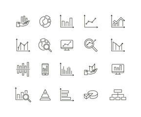 Simple Set of Graph and Diagram Related Vector Line Icons. Contains such Icons as Pie Chart, Graphic, Statistics, Column Chart
